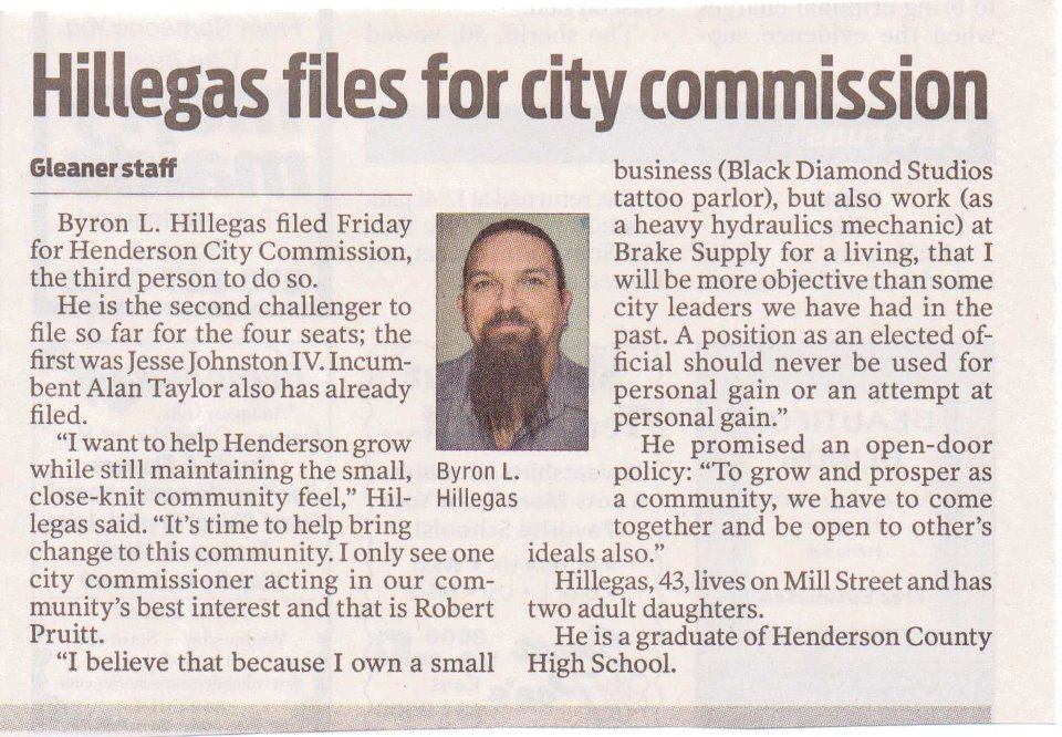 Bryon Hillegas files for City Commission