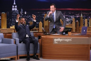 "THE TONIGHT SHOW STARRING JIMMY FALLON -- Episode 0266 -- Pictured: (l-r) Actor Jamie Foxx and host Jimmy Fallon play ""Wheel of Musical Impressions"" on May 19, 2015 -- (Photo by: Douglas Gorenstein/NBC/NBCU Photo Bank)"