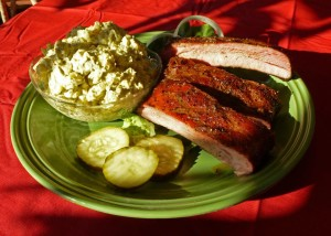 Three bones and potato salad. Nice smoke ring on the ribs too!